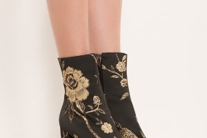 Akira High Chunky Heel Embroidered Thread Floral Ankle Booties In Black regarding Garden Flowers Embroidered Mesh Booties