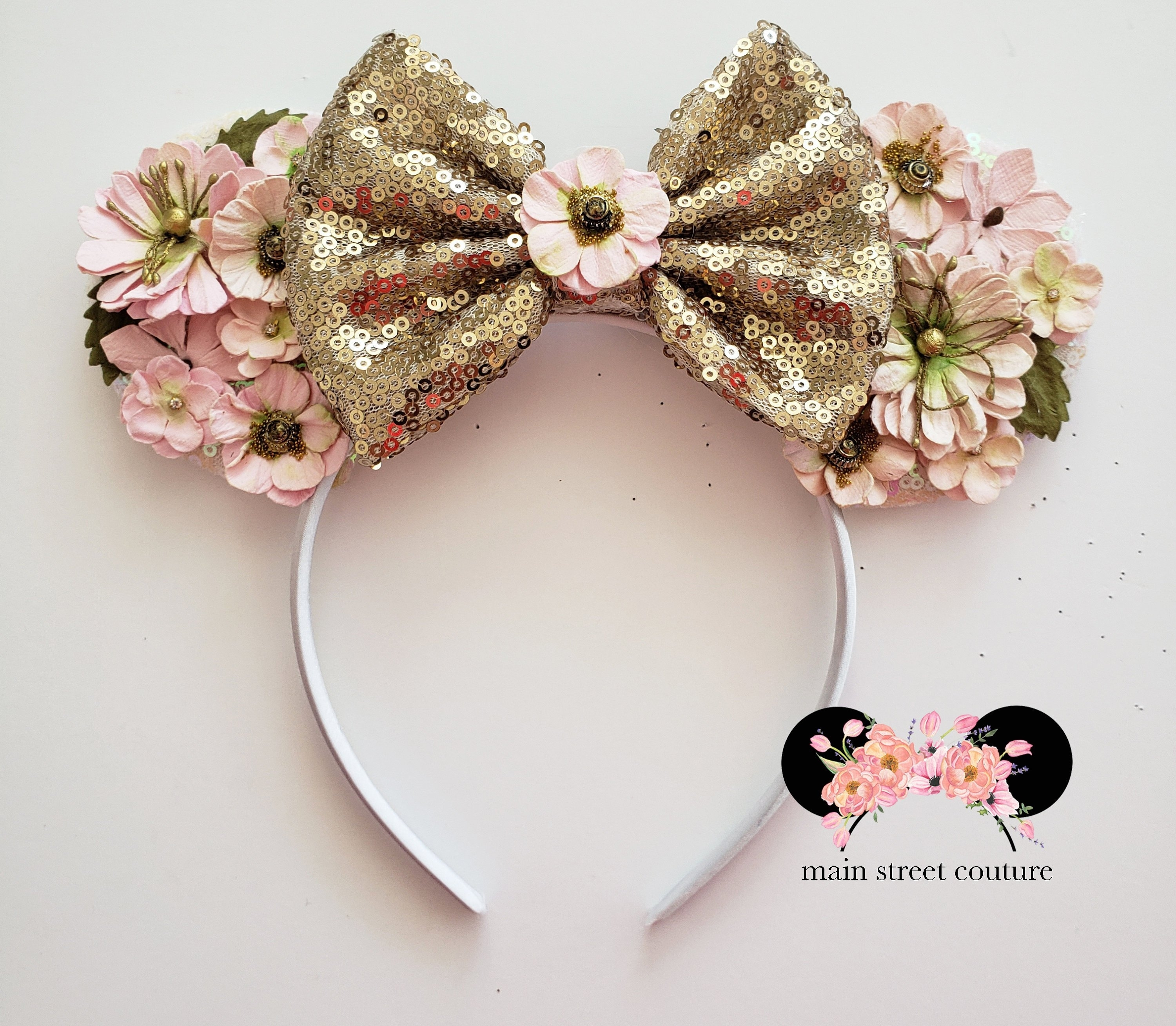 Flower And Garden Festival Ears Rose Gold Minnie Ears Floral   Etsy with regard to Flower And Garden Festival Headband