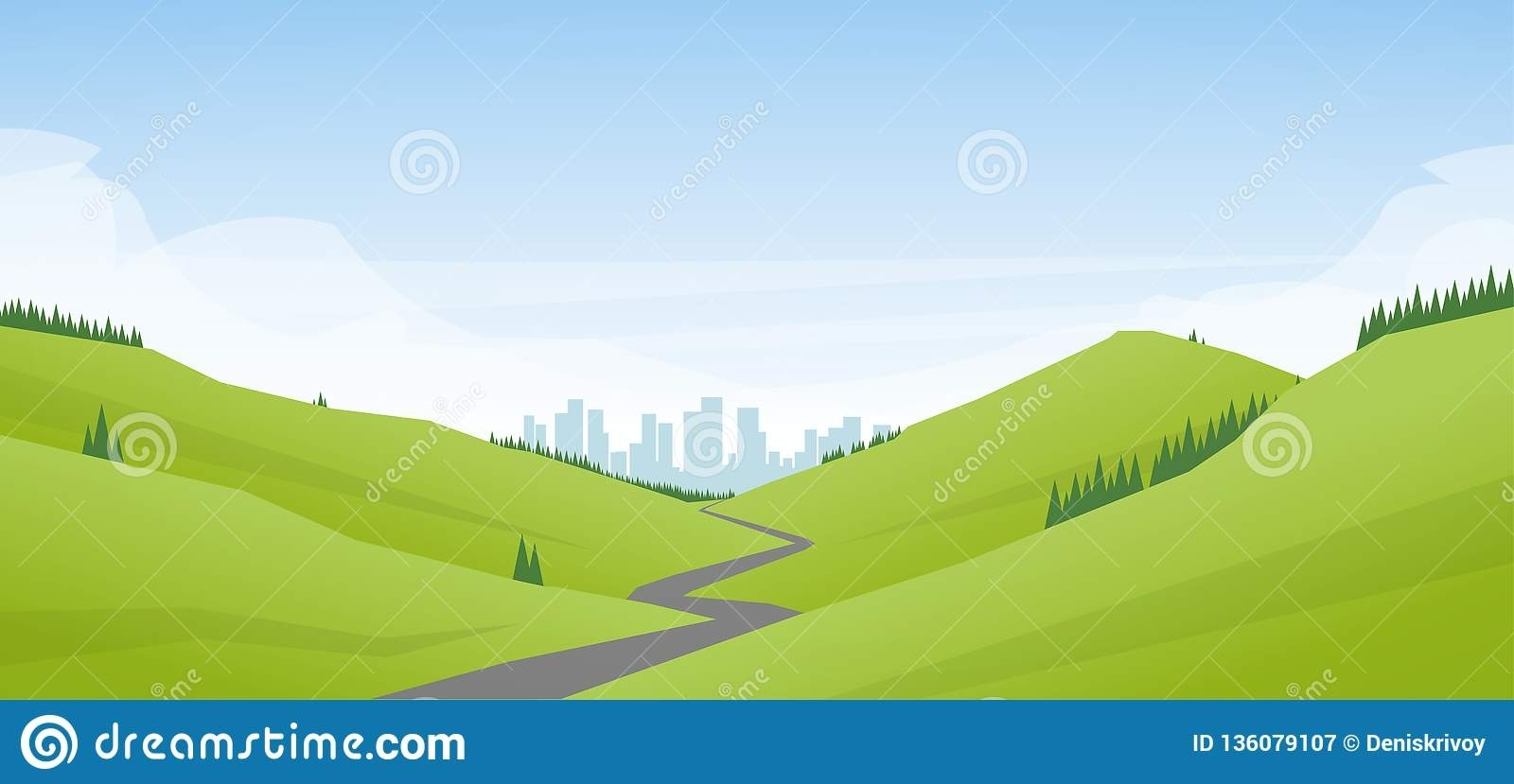 Vector Illustration: Flat Cartoon Landscape With Road intended for Landscape Yard Oakey Flat Road